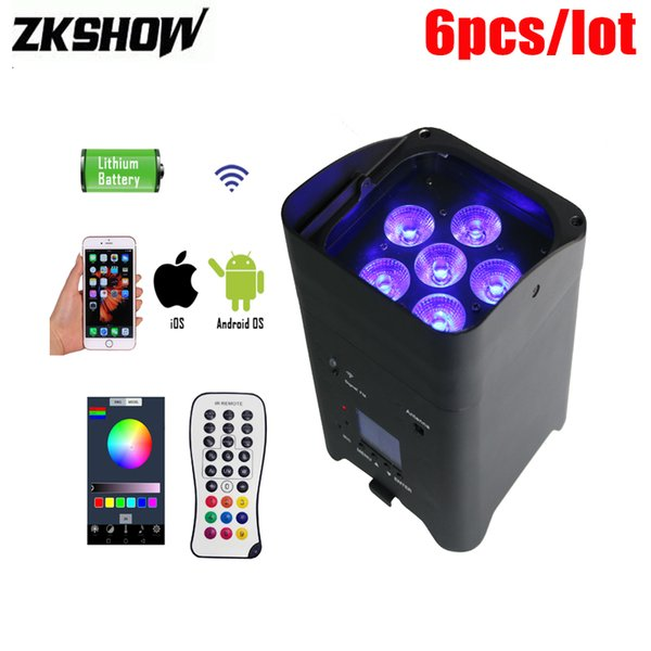 80% Off 6*15W Wifi Wireless Rechargeable Battery Mini LED Par Uplight RGBWAUV IR Remote DMX Luce DJ Disco Party Stage Lighting Projector
