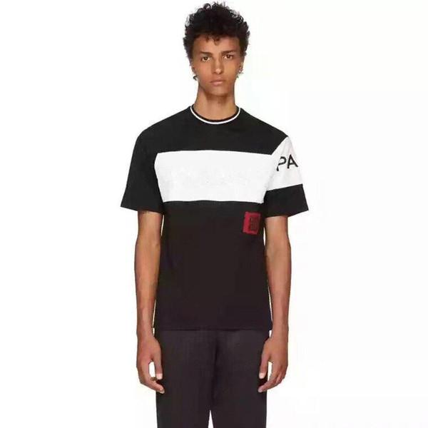 Patchwork T camicia di lusso Europa Parigi ricamo 4G Contrasto 20ss GIV Moda Uomo Designers T-shirt casual da uomo vestiti di cotone Tee BD666