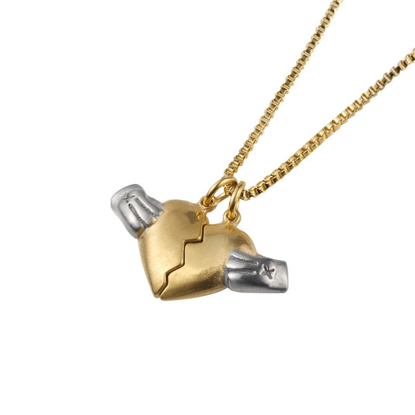 new jewelry fashion charm heart pendant necklace men gift gold color punk men hip hop 60cm long chain for men - from $18.93