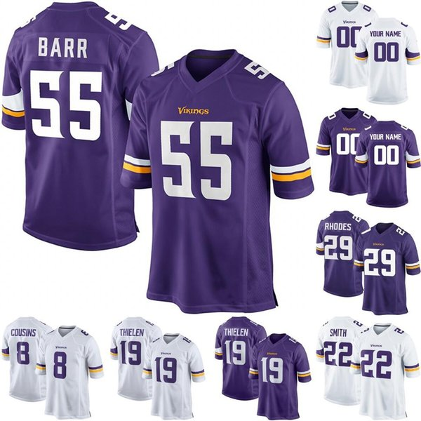 sports shoes 1467c 69fd5 2019 Minnesota 55 Anthony Barr 8 Kirk Cousins 29 Xavier Rhodes 22 Harrison  Smith 19 Adam Thielen Jake Browning Ameer Abdullah Football Jersey From ...