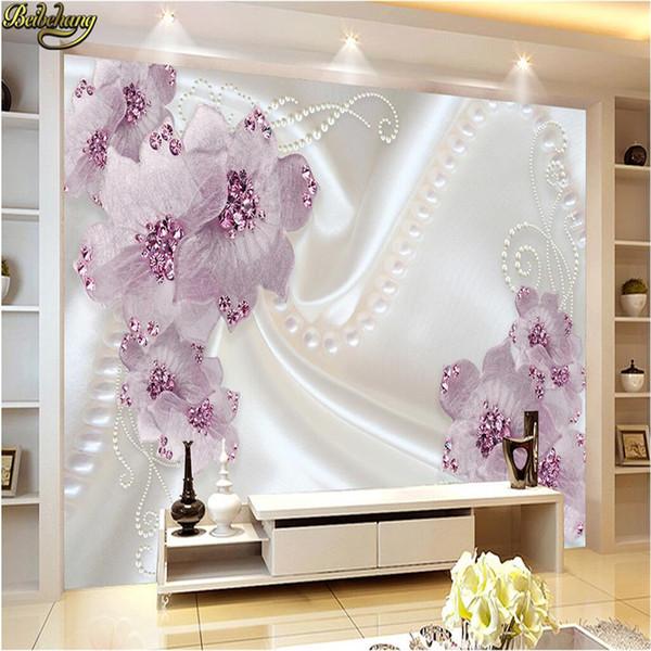 Personnalisé photo papier peint peintures murales stickers muraux romantique simple perle bijoux floral TV fond mur