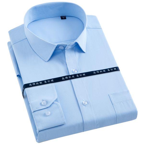 Homens Regular-fit Manga Comprida Sólida Básica Camisas de Vestido de Patch Peito Bolso Formal Escritório de Trabalho de Negócios Branco Masculino Tops Camisa