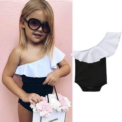 Sevimli Romper Yenidoğan Bebek Kız Bir Omuz Ve Fırfır Tulum Sunsuit Kızlar Patchwork