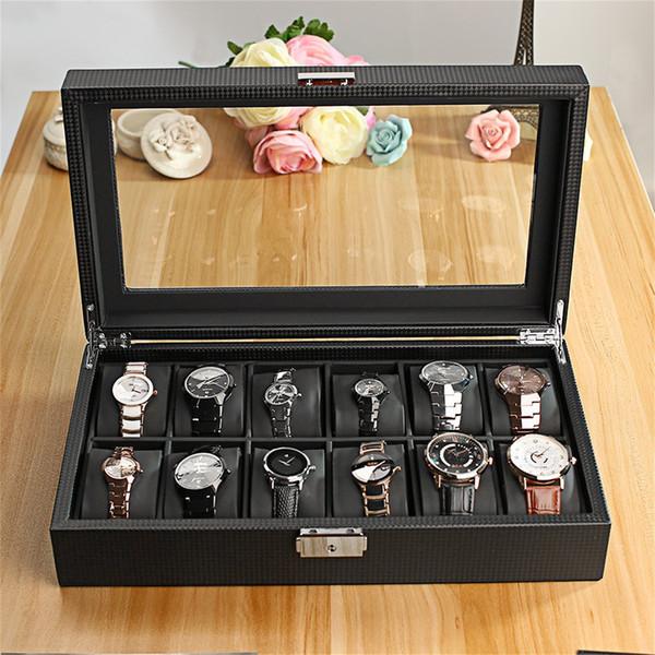 Fibra Armazenamento de Carbono 12 slot de relógios de jóias de exibição Titular