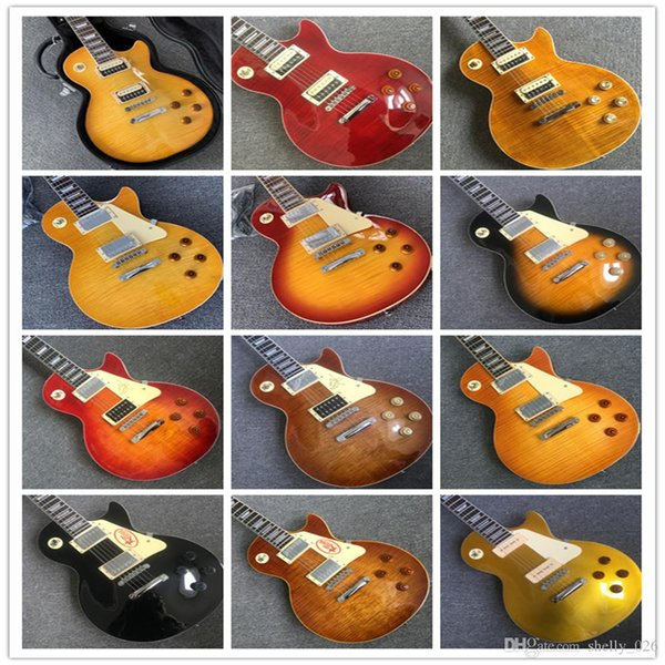 best selling Tiger flame 1959 R9 lp standard electric guitar piece by piece neck body, Tune-o-Matic bridge, FRET binding free delivery color guitars guit