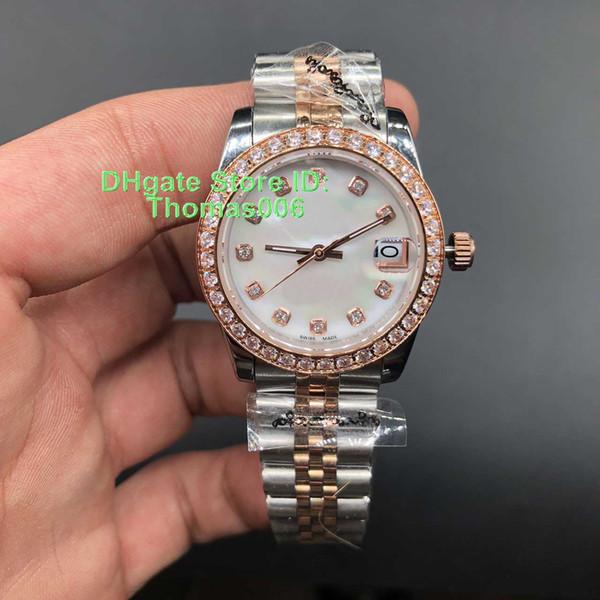 Reloj de lujo La mejor calidad Presidente Diamante Bisel Mujeres Relojes de acero inoxidable Precio más bajo Womens Ladies automático reloj de pulsera mecánico 31 mm