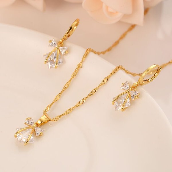 New Fashion Trendy Bowknot White crystal Cubic Zircon 14 K Yellow Fine gold Filled CZ Pendant Earring Necklace Jewelry Sets