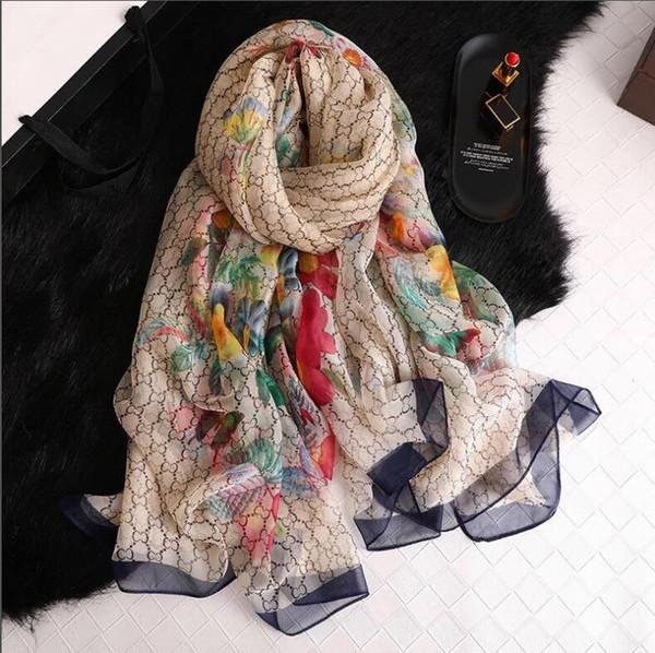 Роскошные шелковые шарфы для женщин летний дизайнер полный логотип зеленый цветочный длинные шелковые шарфы обернуть этикетку 138 * 190 см шаль