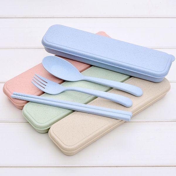 top popular Nordic Style wheatstraw portable tableware travel dinnerware Eco-friendly dinner set Environmental Case Fork Spoon Set Cutlery 2021