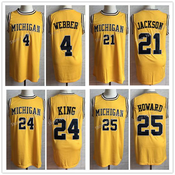 Nr. 4 Webber Nr. 21 Ray Jackson Nr. 24 Jimmy King Nr. 25 Juwan Howard Michigan Wolverines College Basketball Jersey Herren Benutzerdefinierte Nummer und Name