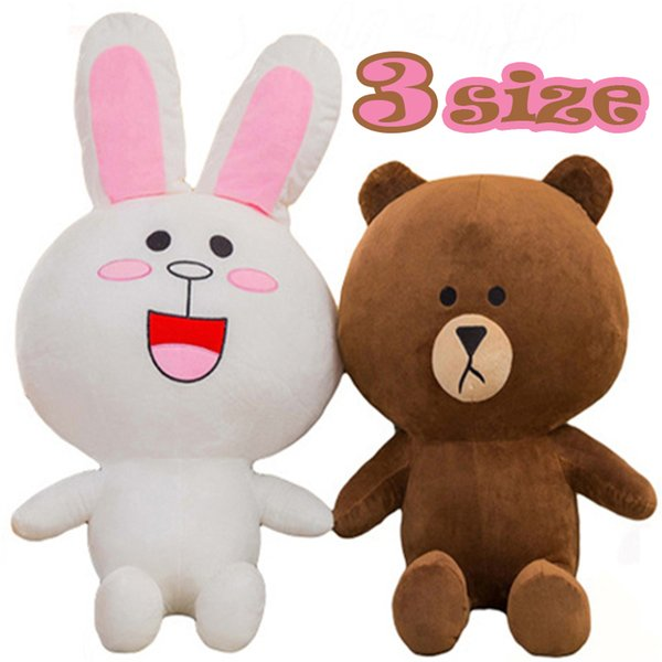 35cm 50cm 70cm Movies & TV Brown Bear and Cony Rabbit Stuffed Animal Plush Toy Korean Cartoon Figure Soft Doll Gift for Children