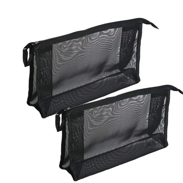 2 Piece Cosmetics See Through Make Up Bag/Organizer, Mesh Travel Accessories Organizer (Black)