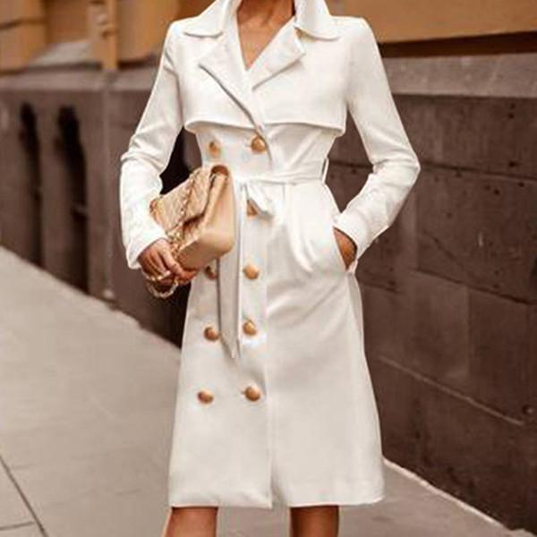 Moda Escritório Ladies Suit Mulheres Blazer Vestido Abotoamento Botão Brasão Frente estilo longo vestido de manga Free Ship