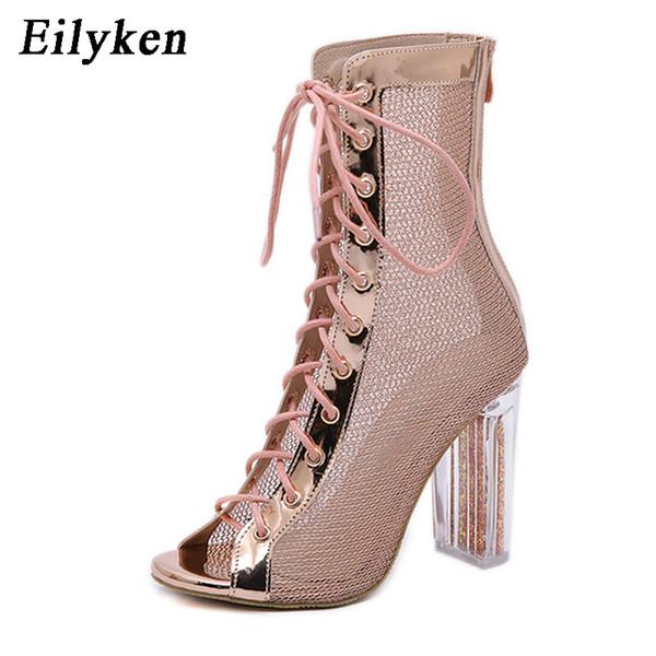 2d731407c Eilyken Lace-up Sexy Mesh Ankle Boots Women High Heels Peep Toe Sandals  Fashion Transparent Square Heel Ladies Shoes Size 35-40