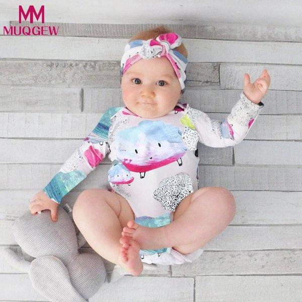 MUQGEW Baby Jumpsuit Set 2Pcs Kids Baby Clouds Girls Boys Outfits Long sleeve Clothes Romper+Headband Jumpsuit Set roupa de