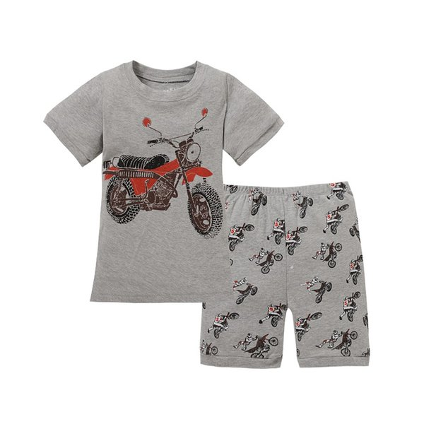 Cinza Menino Pijama Roupas Terno Verão Motocicleta de Corrida Curta Crianças Camiseta Pj Calça 2-Peças Pijamas Meninos Tops 2-7 Anos