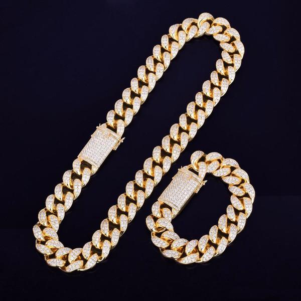 "Heavy Cubic Zirconia Miami Cuban Chain with Bracelet Necklace Set Gold Silver 20mm Big Choker Men's Hip hop Jewelry 16"" 18"""