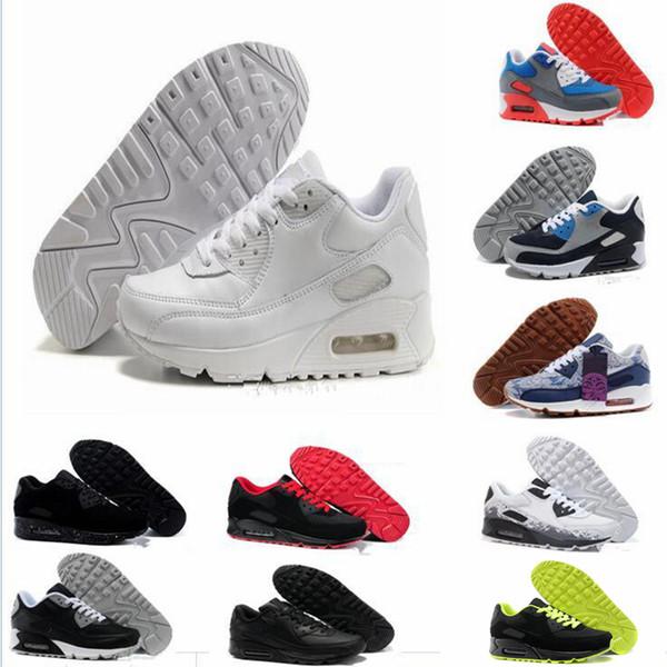 2018 nike air max Ekonomik yüksek kaliteli döşemeli 90 bayan ayakkabıları erkek ayakkabı sneakers sneakers nefes sneakers ücretsiz kargo 7-11 euro