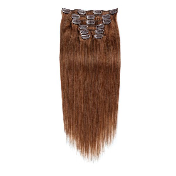 """Full Head Indian remy hair Clip in on Human Hair Extensions 14""""-20"""" 7pcs set 70g Light/Chestnut Brown (#6)"""