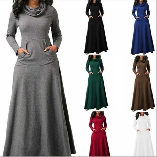 Robe longue Robes Femmes Mode Femmes Long New manches Maxi Dress Vintage Casual Pocket solide robe automne Cowl Neck Vêtements de créateurs