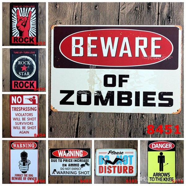 50pcs Danger Warning Metal Tin Signs No Smoking Signage Home Decor Wall Art Painting Plaque Vintage Rock&Roll Decorative Metal Sign