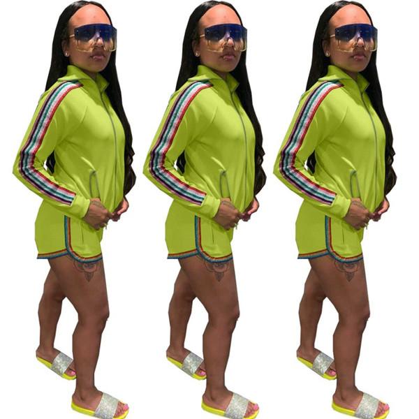 Mulheres designer de calções jaqueta roupas 2 peça set outerwear calças justas esportes terno de manga comprida com painéis cardigan calças treino klw1893 quente