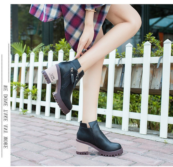 Short Boots Women's Singles Shoe Zipper High With Boots Woman Head With Woman Boot Boot