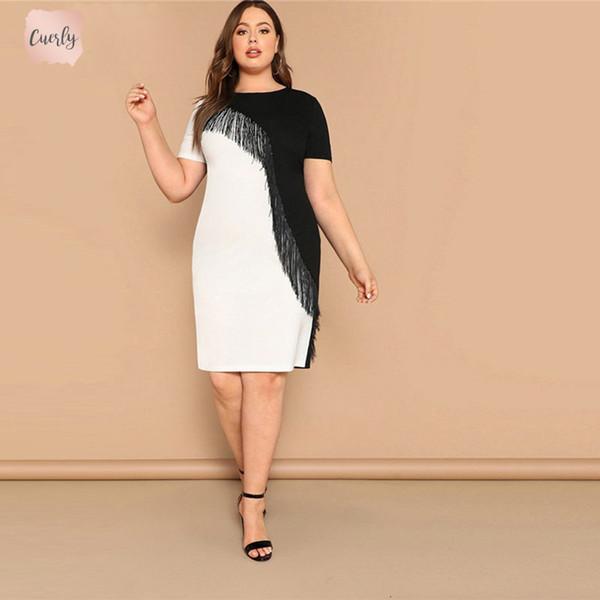 Plus Size Fringe Dress Front Tone Two Pencil Women Summer Weekend Knee  Length Casual Short Sleeve Slim Colorblock Midi Dress Knee Length Dresses  ...