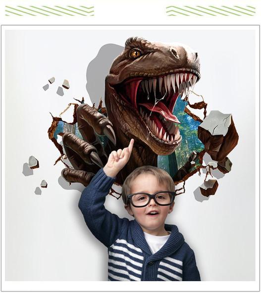 Adesivi murali dinosauro 3D camerette per bambini Dinosaur Assault Camera da letto soggiorno decorazione murale complementi arredo casa decalcomanie carta da parati