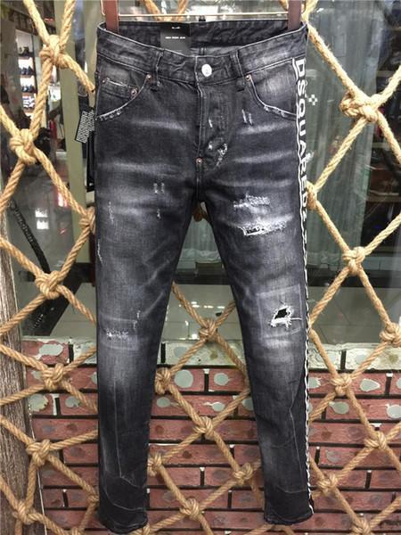 2020DSQ2 Luxo DSQUARED2 Top QualityDesigner Homens D2 Denim Jeans Buracos calças calças Biker Jeans Rock Revival Jeans 9185