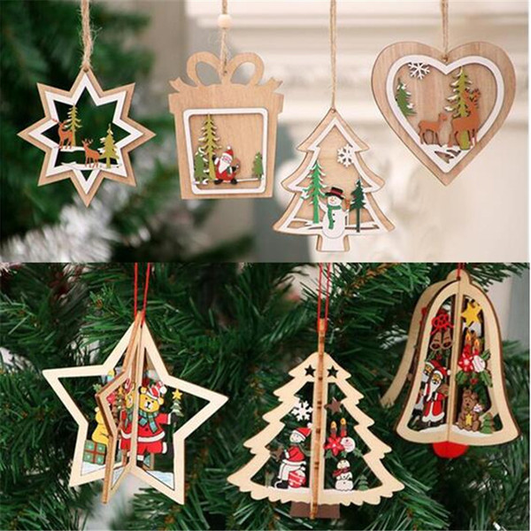 New Home Ornament 2020.2020 New Christmas Wooden Pendants Ornaments Xmas Tree Ornament Diy Wood Crafts Kids Gift For Home Christmas Decorations Xmas Decorations On Sale Xmas