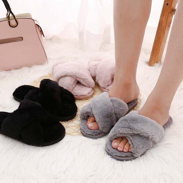 XEK Winter Women Home Slippers with Faux Fur Fashion Warm Shoes Woman Slip on Flats Female Slides Black Pink Plus Size YYJ126