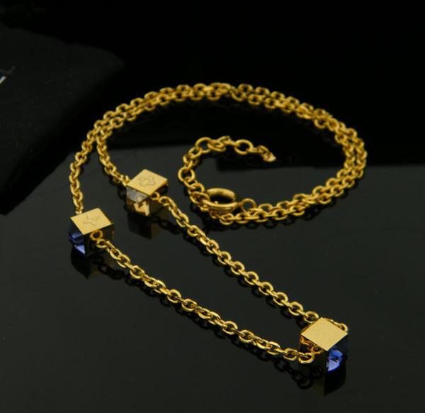Bijoux de luxe femmes de luxe 14k or collier de cristal bleu gemmes naturelles colliers de mariage bijoux de fiançailles