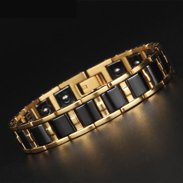 Trustylan Healthy Balance Magnetic Man Bracelet Pulseras de acero de color oro brillante para mujeres negro / blanco brazalete de cerámica MX190719