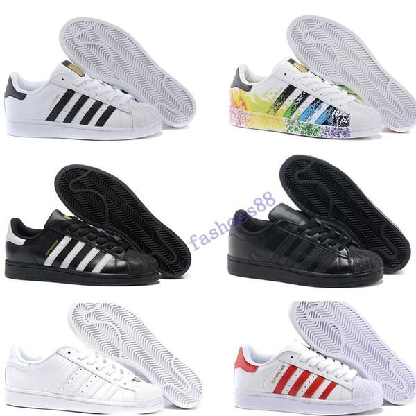 Ücretsiz Kargo Superstar Beyaz Siyah Pembe Mavi Altın Superstars 80'ler Gurur Sneakers Süper Star Kadın Erkek Spor Ayakkabı AB SZ36-45