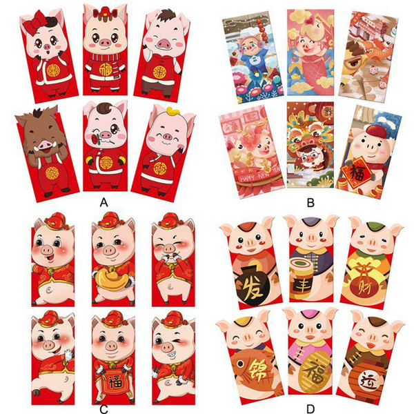 Chinese New Year Red Pocket The Year of the Pig Red Envelopes for Kids Elder Lucky Gifts New Pictures Pockets 6pcs/Set