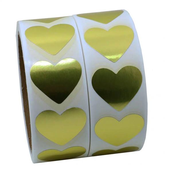 best selling 1inch heart shape blank gold roll adhesive sticker label 1000pcs package seal bottle gift label DIY handmade sticker