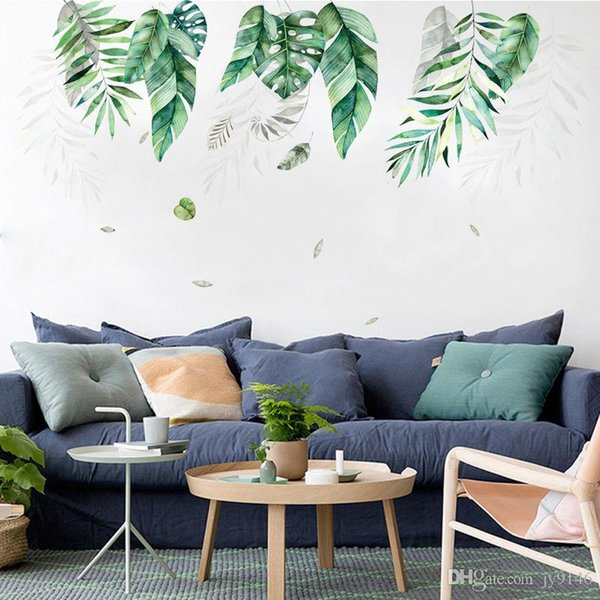 Tropical Plant Ins Wall Stickers PVC Plam Tree Sticker Murals for Living Room Bedroom and Kids Room Decor Monstera Wallpaper