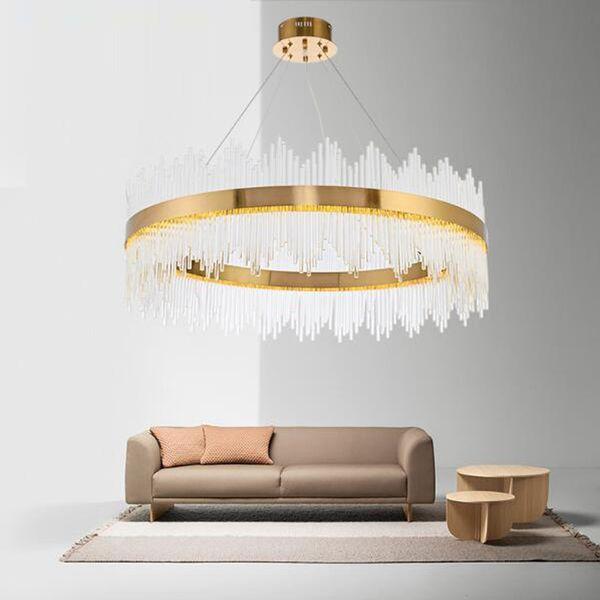 2019 NUEVO Diseño Moderno Cristal Redondo LED Luces Colgantes Barra de Oro Industrial Accesorios de Comedor Escalera de una capa de doble capa