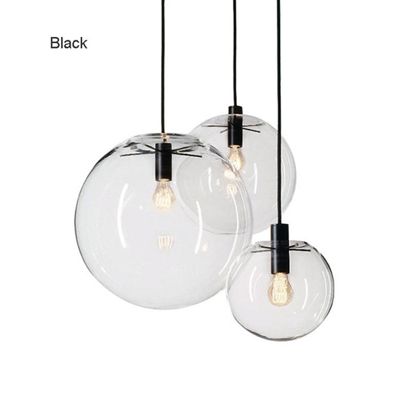Rope Pendant Lights Globe Chrome Glass Ball Hanglamp Lustre Suspension Kitchen Lights Fixture Home Hanging led Lights E27
