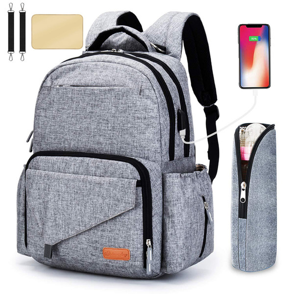 top popular Mommy daddy business casual Diaper Bags with USB stroller strap bottle bag multi-function large capacity mother backpack M087 2021