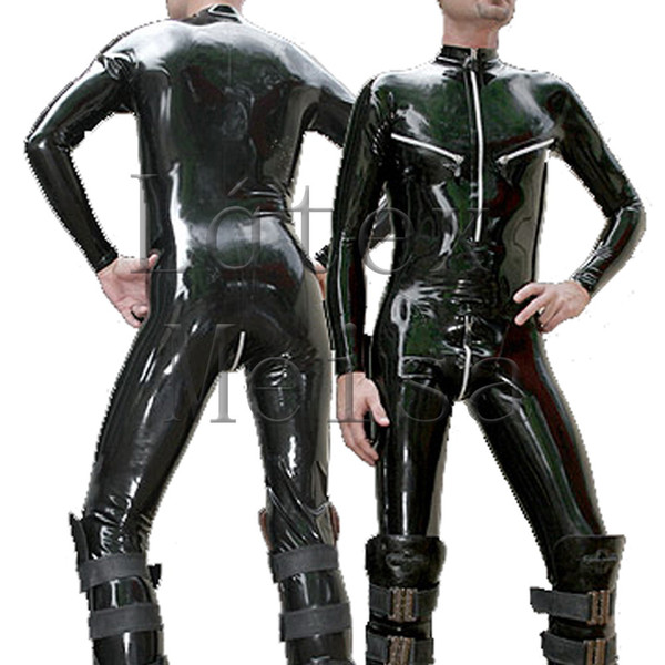 Latex zentai rubber catsuit men's jumpsuit attached 3 zippers(chest,shoulder and crotch) exclude socks in black color
