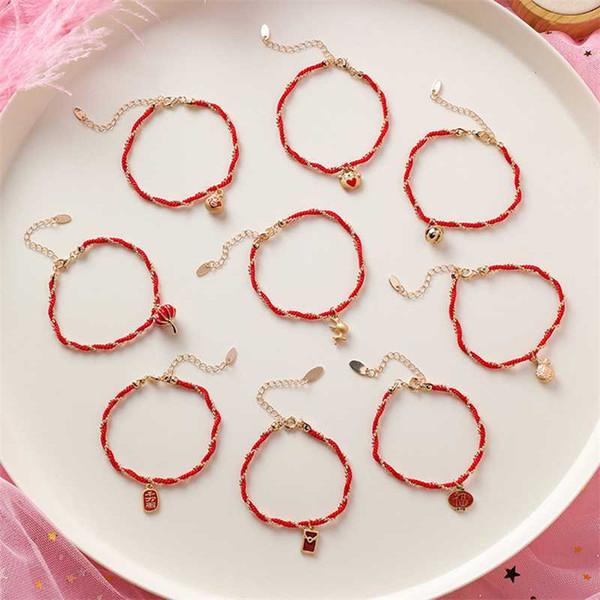 Ailodo китайский Этнические Плетеные браслеты для женщин Мода Красный веревочные Тканые браслеты 2020 Традиционный китайский подарок ювелирных изделий 20JAN11