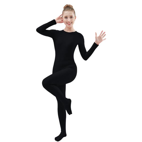 unitard ancewear Ensnovo Mujeres Lycra Spandex de nylon Unitard completa Body traje Zentai Negro Dancewear Body Catsuit del mono del traje de P ...