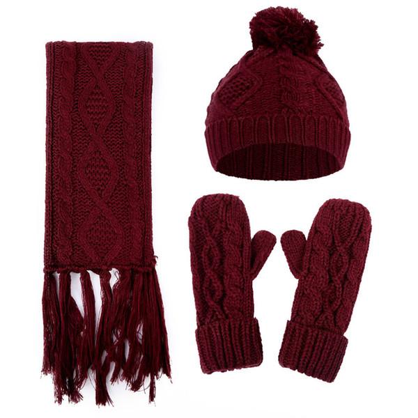 Artificielle Woollen Casual Set coupe-vent d'hiver écharpe et gants tricotés chapeau chaud