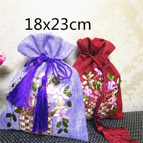 Hand Ribbon Embroidery Large Gift Bags for Jewelry Packaging Bags Drawstring Burlap Pouch Chinese Tassel Bunk Fabric Bag 10pcs