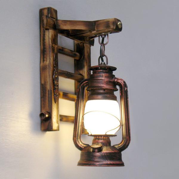 Al por mayor-AC100-240V estilo chino de la novedad de bambú escaleras de pared creativas linterna de granero iluminaciones de pared de bronce E27 Sconce decoración de iluminación