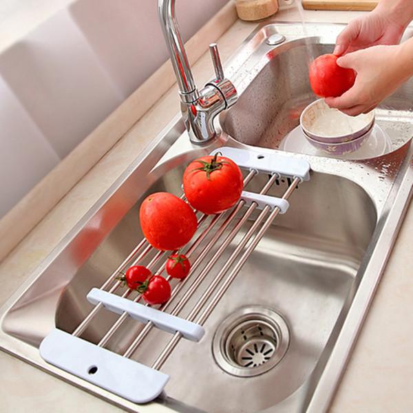 New retractable Stainless steel sink draining rack Fruit Vegetable Shelf Dryer storage Rack Holder Tray kitchen