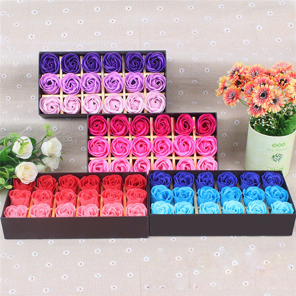 best selling 18Pcs Scented Rose Flower Petal Bath Body Soap Wedding Party Gift Best Valentine's Day gift