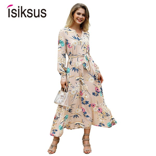 Isiksus Floral Summer Maxi Dress Long Sleeve Boho Vintage Dress White Green Beach Tropical Autumn 2018 Dresses For Women Dr096 Y19012201